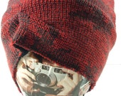 Red Sweater Knit Slouch Hat, Upcycled OOAK Hat