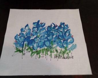 "Bluebonnets - Art On Fabric by Kathleen McElwaine - Texas - 9""x10"" Kona Cotton - 1 Block"