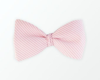 Men's Bow Tie, Men's Bow Tie, Pink and Stripe Cotton Self Bow Tie Brother Gift Husband Gift Father Gift / READY TO SHIP
