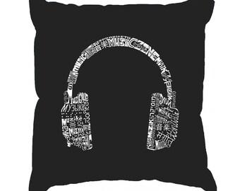 Throw Pillow Cover - Word Art - HEADPHONES - LANGUAGES