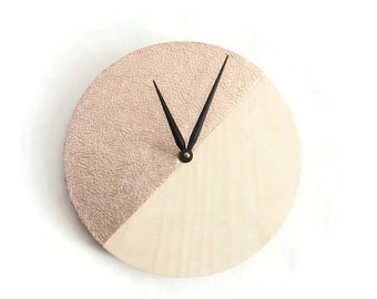 Sale, Wood Wall Clock, Rose Gold Leather Art, Home and Living, Home Decor, Clocks, Cowhide Leather
