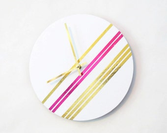 Modern Wall Clock, Gold Foil, Pink Foil, Gold and White Clock, Wall Art,  Housewares, Home and Living, Unique Wall Clocks