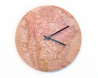 Wall Clock, Map Home Decor, Wanderlust, Home and Living, Home Decor, Clocks
