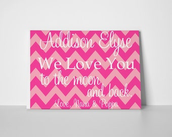 Personalized Love you to the Moon Gallery Wrapped Canvas