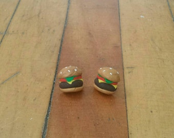 Hamburger / Cheeseburger earrings - cute food earrings