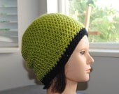 lime green with black stripe crochet adult beanie hat