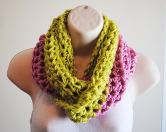 the chunky strawberry lime crochet infinity scarf