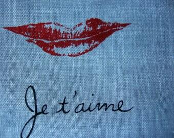 Valentine Heart Handkerchief I Love You Red Lipstick Kisses Printed Cotton Vintage Hanky a Women's Hankie Accessory Sweetheart Gift Hankie