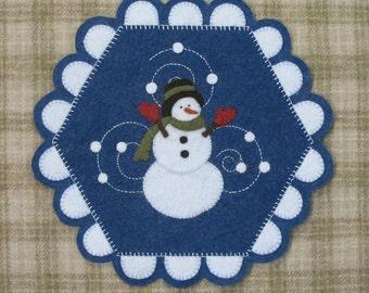 Let It Snow Wool Felt Penny Mat Pattern