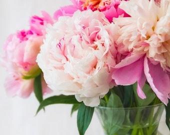 Vivid Spring Flower Photography - Pink Peony Art - Fine Art Photography - Peony Print, Flower Home Decor - Pink Green Wall Art