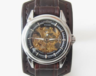 Leather Watch Cuff, Leather Wrist Watch, Steampunk Watch, Men's leather watch, Bracelet Watch, Men Bracelet Watch