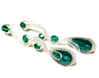Kind of Leaky II, Green Crystals, Emerald Green, Leaky Earrings, Long Earrings, Crystal Earrings, Wrapped Earrings