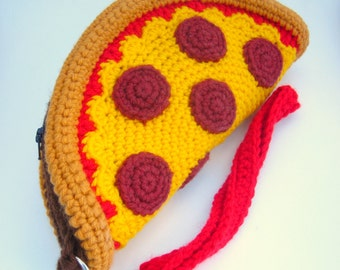 Pizza Clutch Purse. Foodie Wrist Bag. Removable Strap. Zipper Closure. Pepperoni Cheese Pizza. Weird Unusual Handbag Amigurumi Kawaii Food
