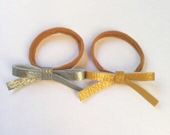 Set of 2 Dainty Knot Bows Headbands. Nylon Headbands. Hair Bows.