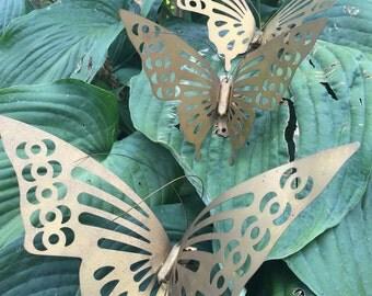 Vintage Brass Butterflies Three Piece Wall Hanging Butterfly Garden