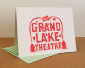 Single Oakland Grand Lake Theater Linocut Card in Neon Red