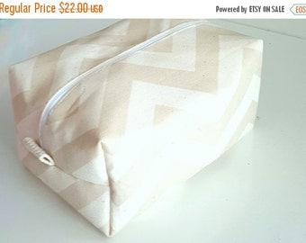 BACK 2 SCHOOL SALE Chevron Makeup Bag  - Cosmetic Pouch -  Lunch Bag - Wet Bag -Waterproof Bag -Natural Makeup Bag