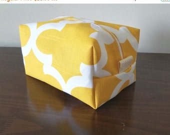 BACK 2 SCHOOL SALE Yellow Waterproof Makeup Bag - Cosmetic Bag - Water Resistant Bag