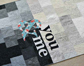 Modern Quilt - Word Quilt - Twin Quilt - Black and White Quilt - Lap Quilt - Toddler Quilt - Crib Quilt