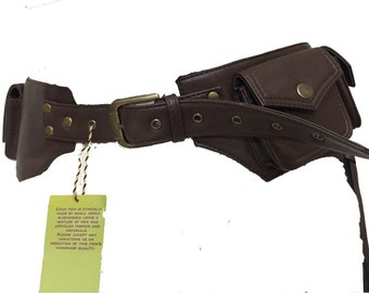 VEGAN LEATHER UTILITY belt, fanny pack, pocket belt, bumbag, STEAMPUNk belt, festival belt, Vlbebr