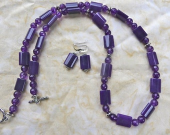 29 Inch Purple Jade and Faceted Dragon Vein Agate Necklace with Earrings