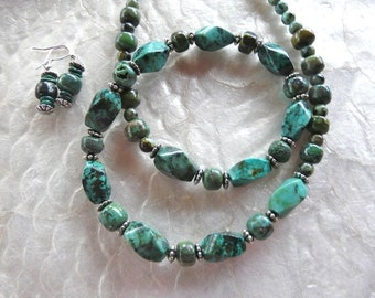 22 Inch Green Afganistan Turquoise Necklace with Earrings