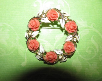 Vintage Carved Coral Plastic Flower With Enamel Leaves Accented Rhinestone  Brooch Pin