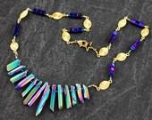TURQUOISE AURA QUARTZ Necklace - Solid Brass -Purple Hermitite Cube Beaded Chain