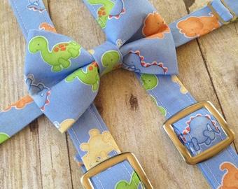 Dinosaur Bow Tie- Dinosaur Suspenders -Dinosaur Cake Smash Set- Smash Cake Set - Dino Baby- Baby Dino