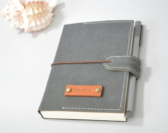 Personalized Leather Journal notebook - Gray, personalized diary, travel journal, leather sketchbook, refillable journal, leather book