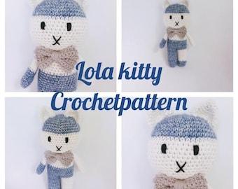 KITTY CROCHETPATTERN,Crochet Pattern, Amigurumi Doll, Kitty Lola, Babytoy, Babyshower, Direct Download, Doll, Tutorial,PDF