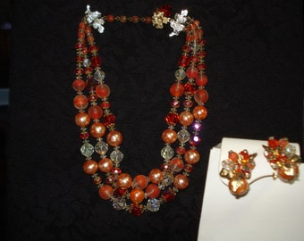 3-Strand Vendome Crystal Necklace & Earrings – Orange Shades – EUC #67