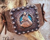 Large Bison Leather Wristband with Wolf