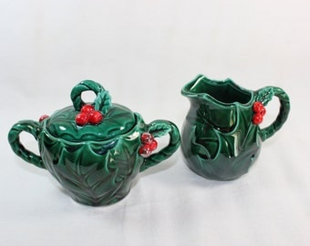 Vintage Lefton Holly and Berries Sugar and Creamer