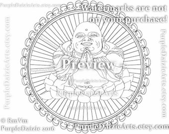 Smiling Buddha Printable Coloring Page Happy in a Lotus Flower Tattoo Style Art Line Drawing Adult Digital Color Sheet JPEG Instant Download