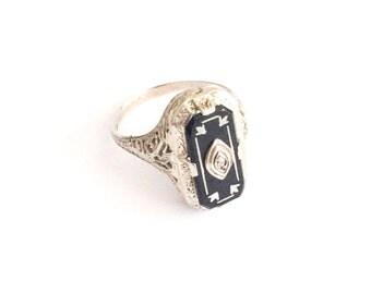 Art Deco Ring, Black Onyx Diamond Ring, Ostby & Barton, 14K White Gold, Vintage Jewelry, NEW YEAR SALE