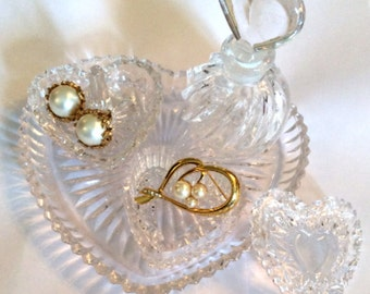 French Crystal Glass Trinket Plate, Vanity Set, Gift for Her WINTER SALE