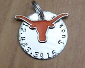 Texas longhorn custom Dog ID Tag, Green. Longhorns Fan, Dog Collar, dog Tag phone number