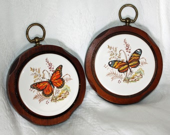 Vintage, Butterfly Wall Plaques, Ceramic on Wood, Brass Hanger, Wall Hangings, Insect Picture