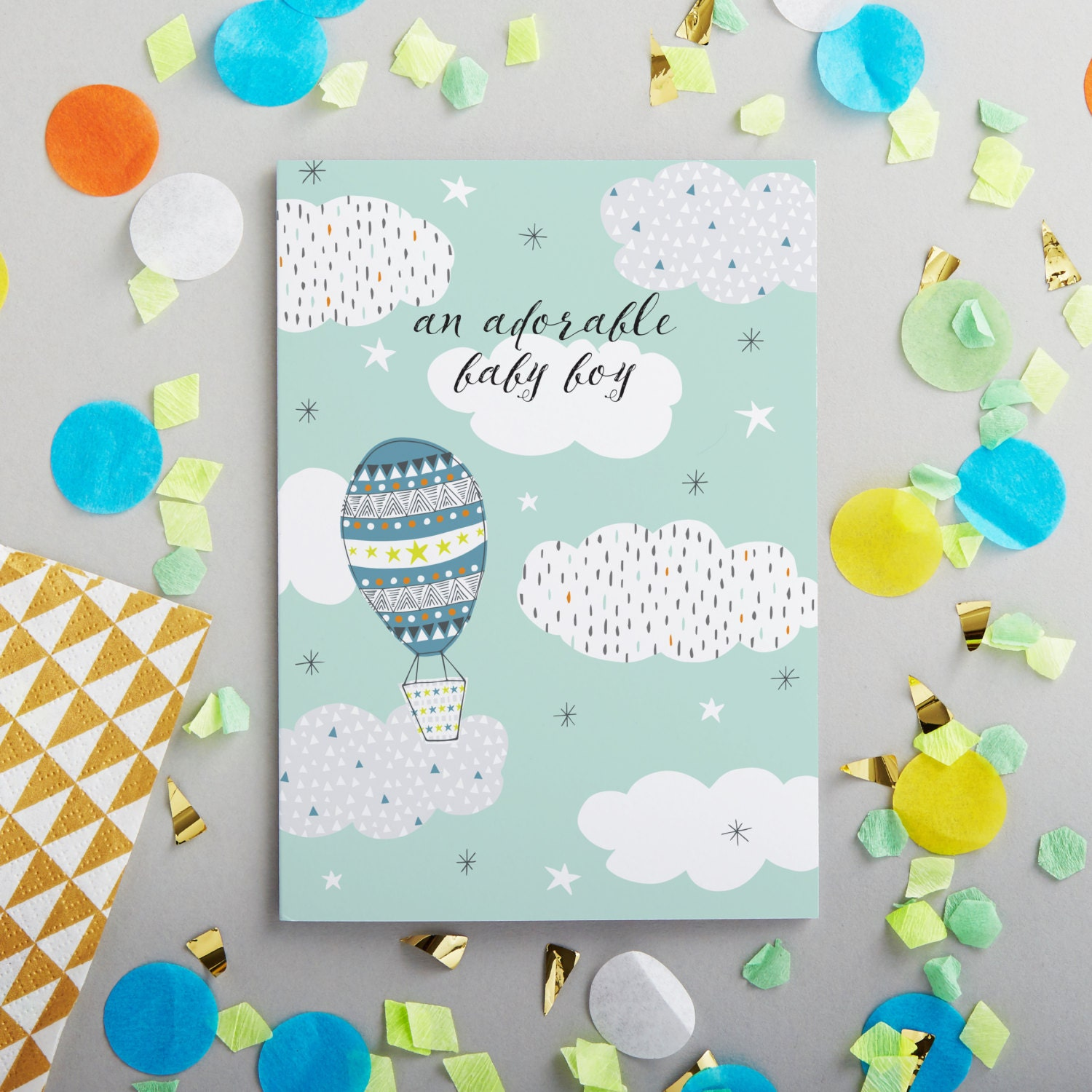 Cute new baby greetings card design led stationery printed details this new baby greeting kristyandbryce Gallery