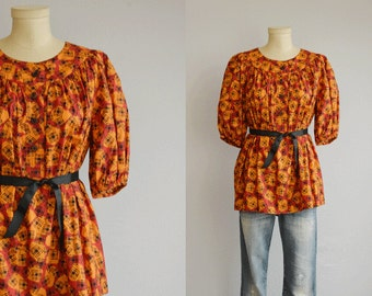 Vintage 70s YSL Blouse / 1970s Yves Saint Laurent Rive Gauche Graphic Tribal Ethnic Print Boho Peasant Shirt / Made in France