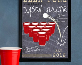 Personalize Beer Pong Traditional Sign