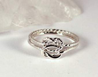 Twisted and Smooth Double Knot Ring, Sterling Silver, Made to Order