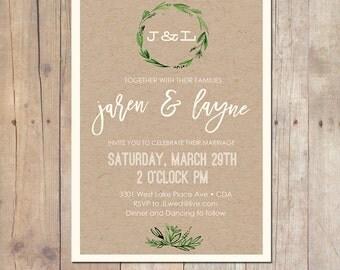 Organic kraft botanical Wedding Invitation Shower Invitation Printable Invitation OR Printed Card