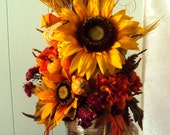 Beautiful Country Autumn Centerpiece Fall Centerpiece Thanksgiving Floral Centerpiece Arrangement Loaded with Colorful Flowers