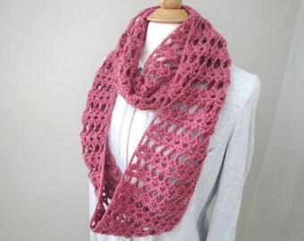 Lacy Crochet Infinity Cowl Scarf, Rose Pink, Long Loop Wrap Scarf, Women Teen Girls, Chic Fashion