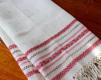 Vintage Linen Display Towel Show Damask Fringe Turkey Red Pink White Stripes Drawnwork