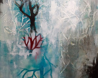 """Stand Up, 20x24"""" contemporary textural Tree abstract landscape painting original artwork in teal, black, and red.  free shipping in cont US"""