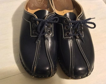 Vintage Bastad Clogs Made in Sweden Navy Blue Tie Bastad Clogs Leather Clogs Size 36