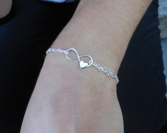 Sister Gift, Sterling Silver Infinity Bracelet, Bronze Heart, Gifts for Sisters, Double Strand, Sister Card,Infinity Jewelry,Dainty Bracelet